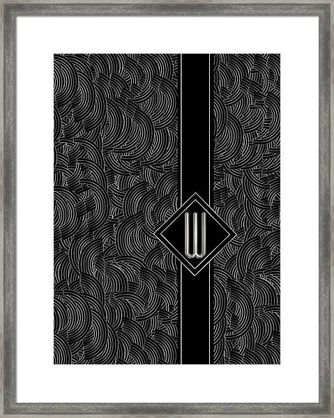Deco Jazz Swing Monogram ...letter W Framed Print