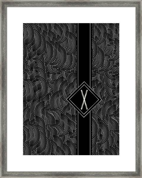 Deco Jazz Swing Monogram ...letter X Framed Print
