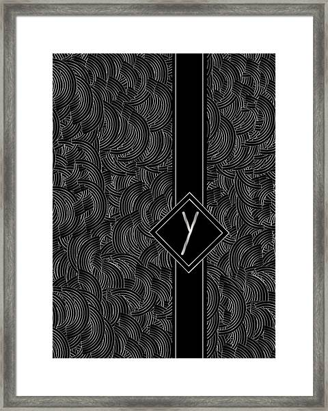Deco Jazz Swing Monogram ...letter Y Framed Print