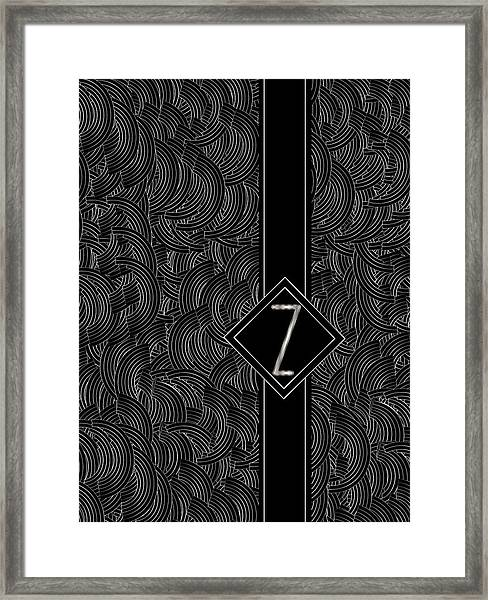Deco Jazz Swing Monogram ...letter Z Framed Print