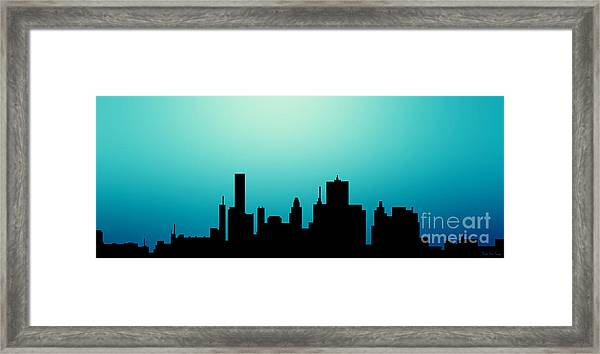 Decorative Abstract Skyline Houston R1115a Framed Print