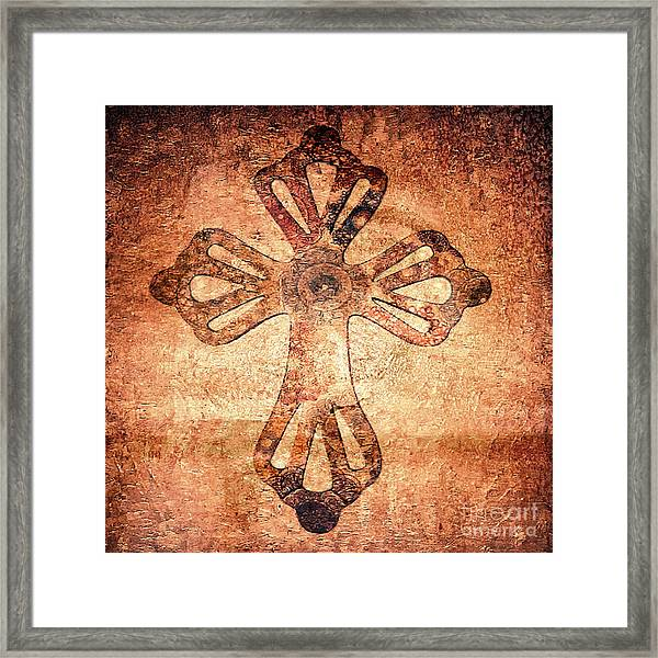 Framed Print featuring the painting Decorative Antique Cross A39816 by Mas Art Studio