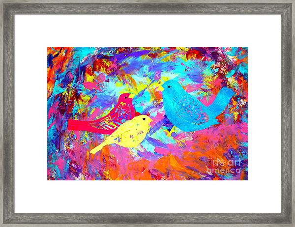 Framed Print featuring the painting Decorative Birds D132016 by Mas Art Studio