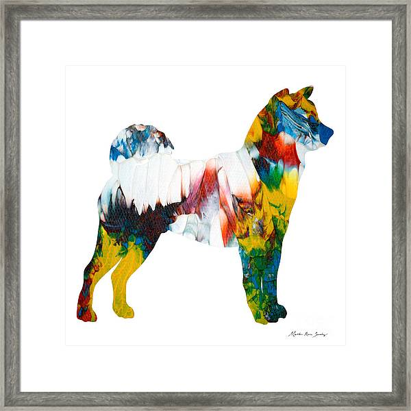 Framed Print featuring the painting Decorative Husky Abstract O1015m by Mas Art Studio