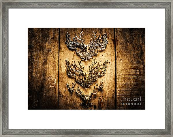 Decorative Moose Emblems Framed Print