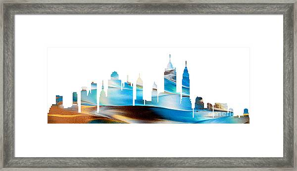 Decorative Skyline Abstract New York P1015a Framed Print