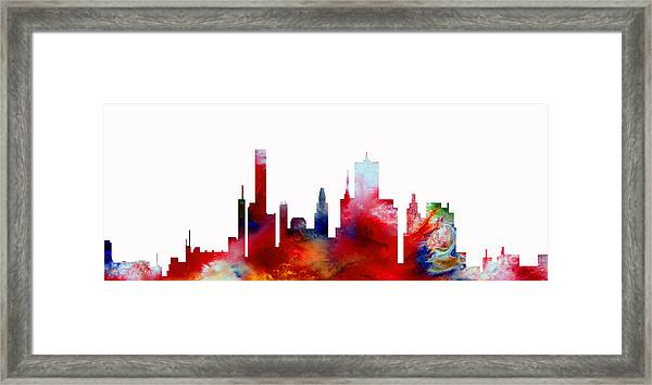 Framed Print featuring the painting Decorative Skyline Abstract  Houston T1115d by Mas Art Studio