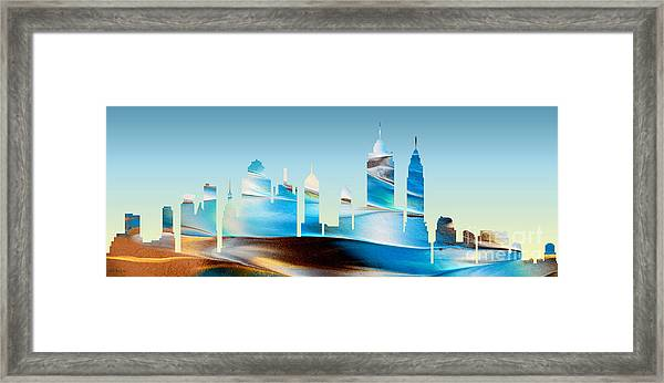 Decorative Skyline Abstract New York P1015b Framed Print