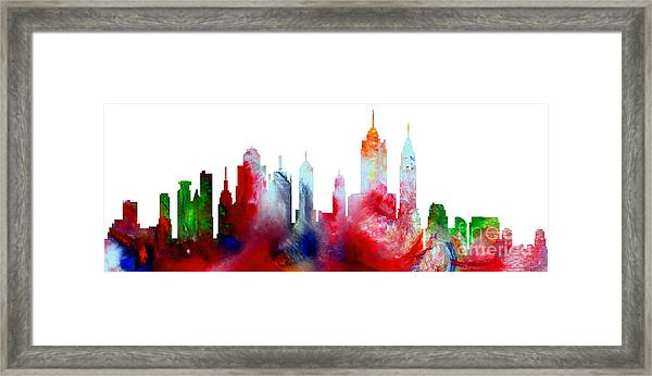 Decorative Skyline Abstract New York P1015c Framed Print