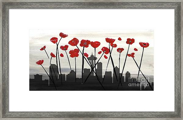 Framed Print featuring the painting Decorative Skyline Abstract  Seattle T1115x1 by Mas Art Studio