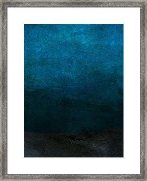 Deep Blue Mood- Abstract Art By Linda Woods Framed Print