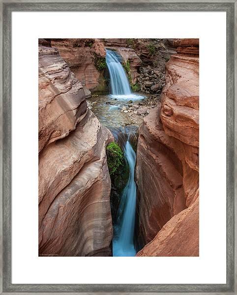 Deer Creek Double Waterfall Framed Print