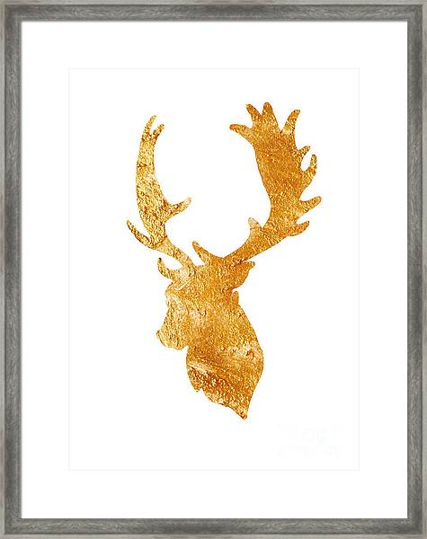 Deer Head Silhouette Drawing Framed Print