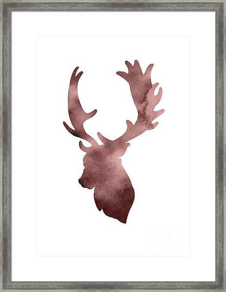 Deer Head Silhouette Minimalist Painting Framed Print