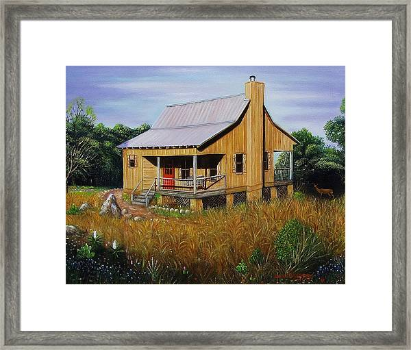 Deer Run Cabin Framed Print