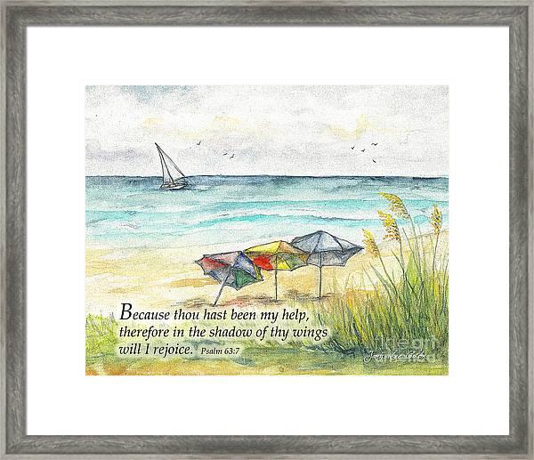 Deerfield Beach Umbrellas Psalm 63 Framed Print