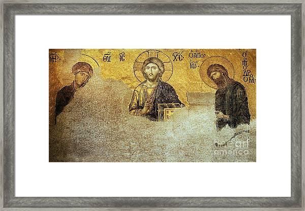 Deesis Mosaic Hagia Sophia-christ Pantocrator-judgement Day Framed Print