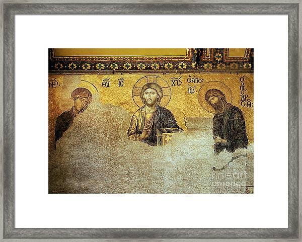 Deesis Mosaic Hagia Sophia-christ Pantocrator-the Last Judgement Framed Print