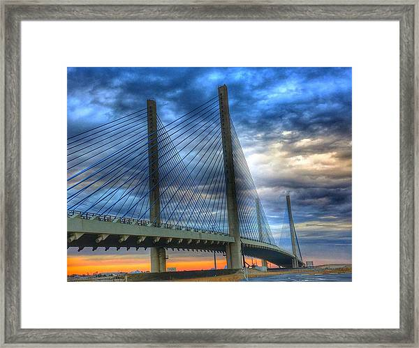 Delaware Bridge At Sunset Framed Print