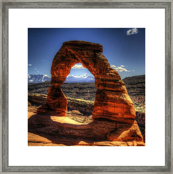 Delicate Arch Framing La Sal Mountains Framed Print
