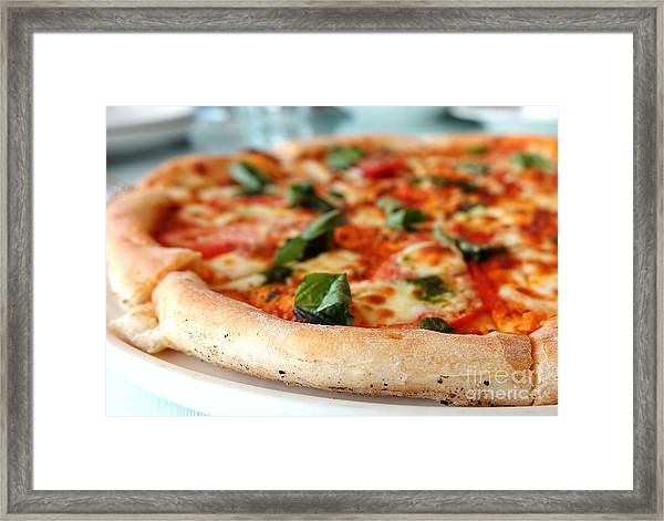 Delicious Crust Of Pizza Margherita Framed Print