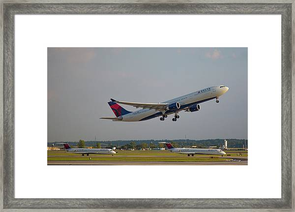 Delta Airlines Jet N827nw Airbus A330-300 Atlanta Airplane Art Framed Print