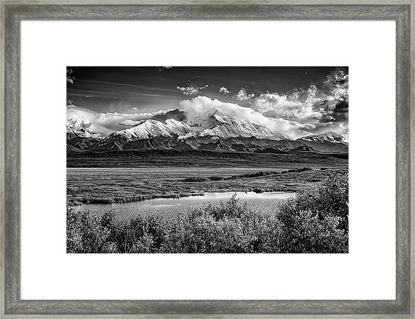 Denali, The High One In Black And White Framed Print