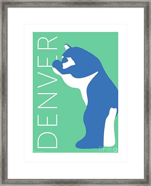 Denver Blue Bear/aqua Framed Print