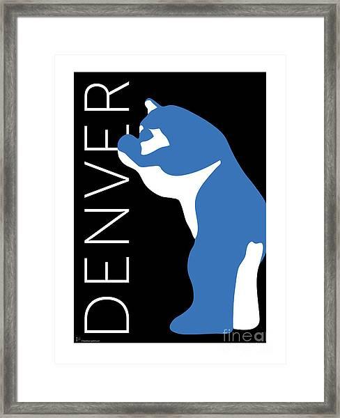 Denver Blue Bear/black Framed Print