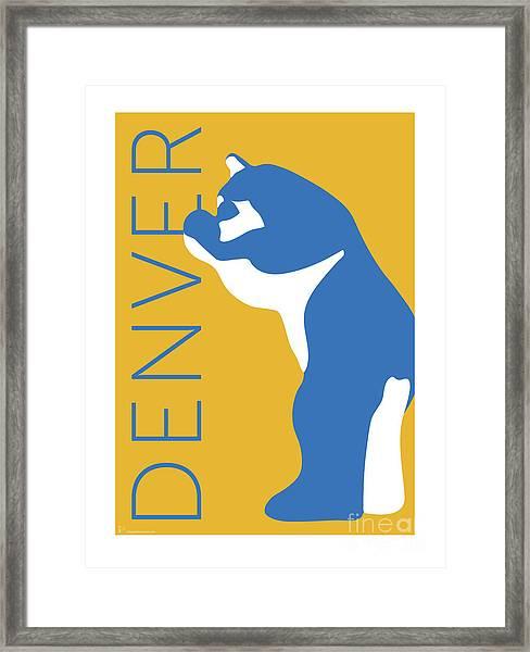 Denver Blue Bear/gold Framed Print