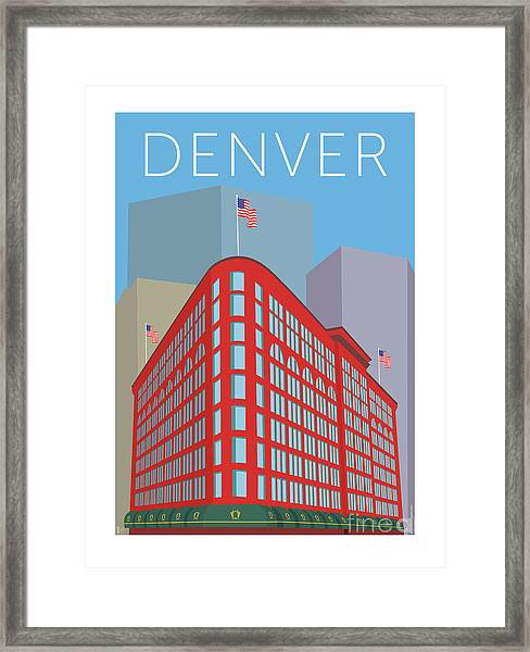 Framed Print featuring the digital art Denver Brown Palace/blue by Sam Brennan