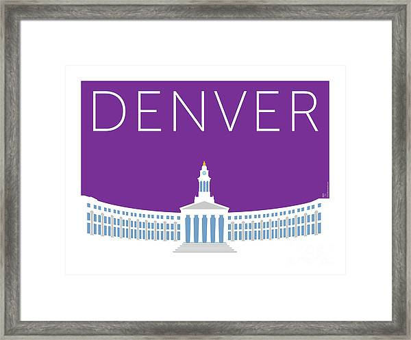 Framed Print featuring the digital art Denver City And County Bldg/purple by Sam Brennan