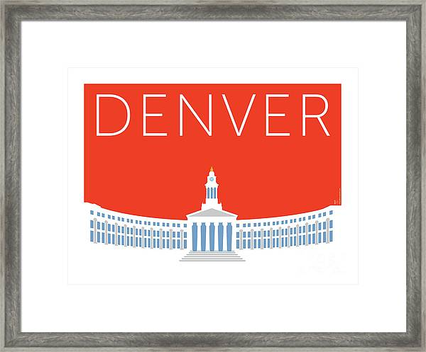 Framed Print featuring the digital art Denver City And County Bldg/orange by Sam Brennan