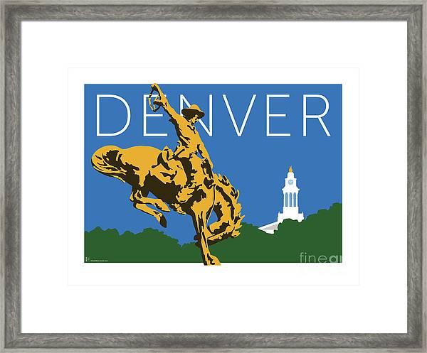 Denver Cowboy/dark Blue Framed Print