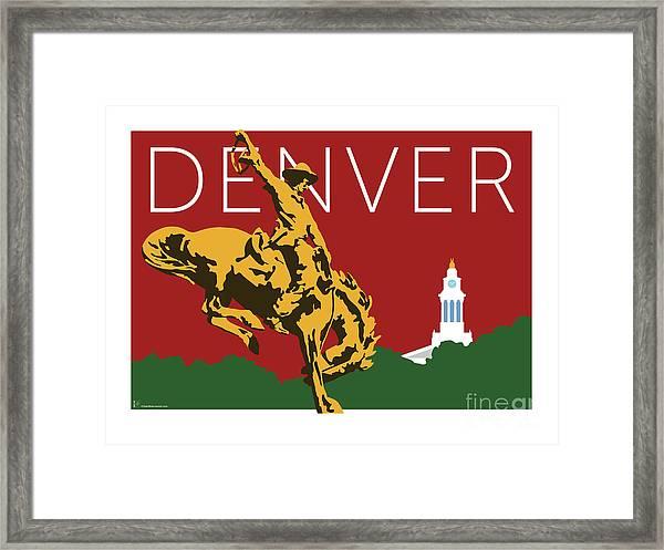 Denver Cowboy/maroon Framed Print