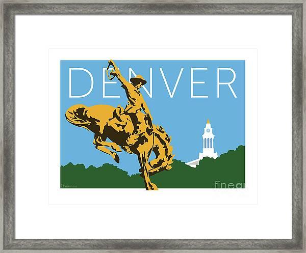 Denver Cowboy/sky Blue Framed Print