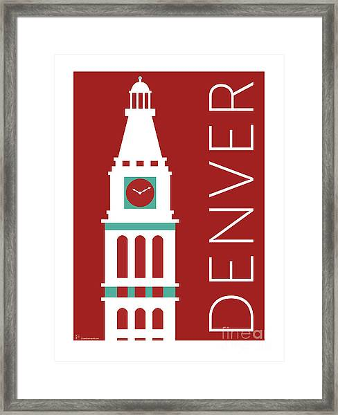 Framed Print featuring the digital art Denver D And F Tower/maroon by Sam Brennan