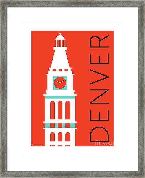 Framed Print featuring the digital art Denver D And F Tower/orange by Sam Brennan