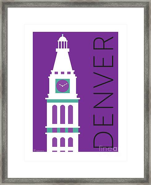 Framed Print featuring the digital art Denver D And F Tower/purple by Sam Brennan