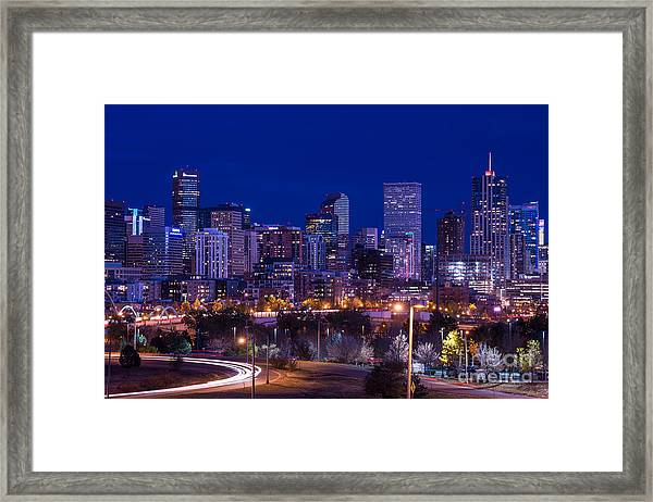 Denver Skyline At Night - Colorado Framed Print