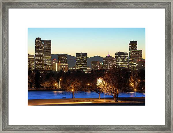 Denver Skyline - City Park View - Cool Blue Framed Print