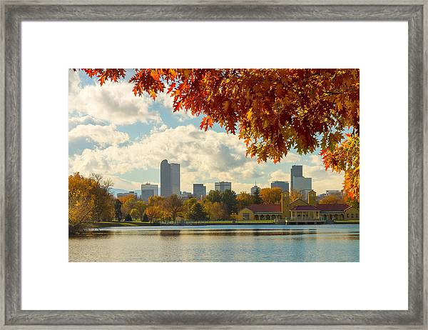Denver Skyline Fall Foliage View Framed Print