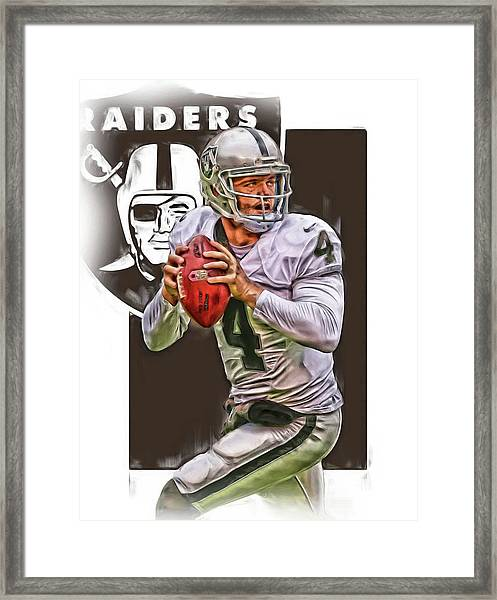Derek Carr Oakland Raiders Oil Art Framed Print