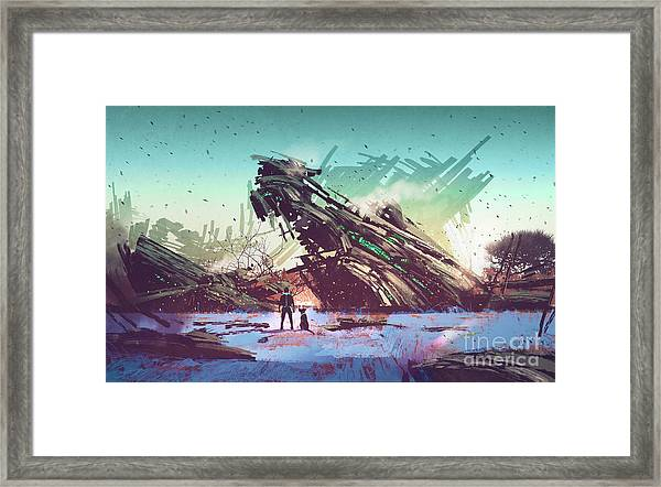 Framed Print featuring the painting Derelict Ship by Tithi Luadthong