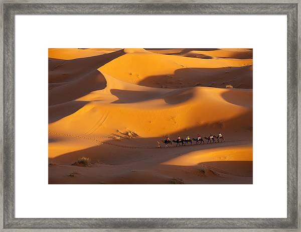 Desert And Caravan Framed Print