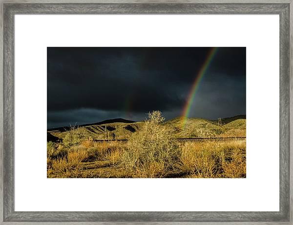 Desert Double Rainbow Framed Print