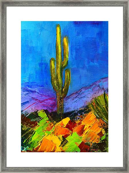 Framed Print featuring the painting Desert Giant by Elise Palmigiani