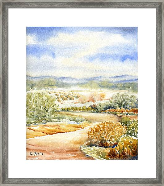 Desert Landscape Watercolor Framed Print