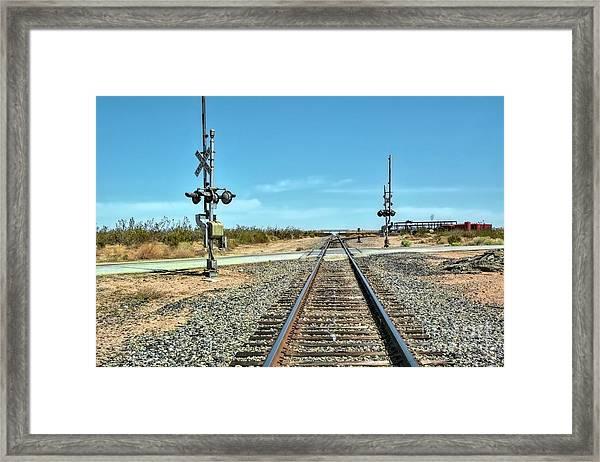 Desert Railway Crossing Framed Print