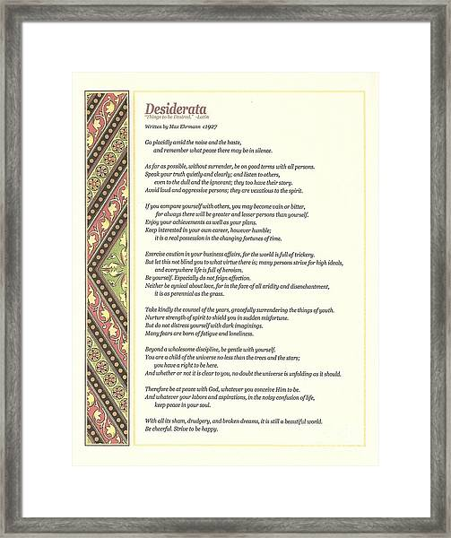 Desiderata 1 Framed Print